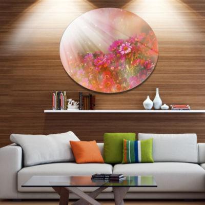 Designart Little Red and Pink Flowers Spring DiscLarge Floral Metal Artwork