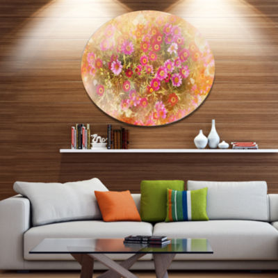 Designart Spring Background with Little Flowers Disc Large Floral Metal Artwork