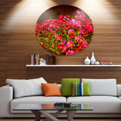 Designart Small Red Flowers in Spring Photo Disc Large Floral Metal Artwork