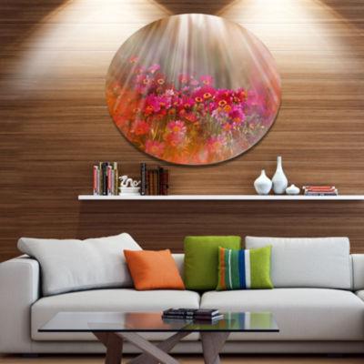 Designart Sunlight Over Small Red Flowers Disc Large Floral Metal Artwork