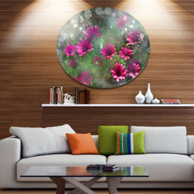 Designart Red and Pink Flowers on Green Disc LargeFloral Metal Artwork