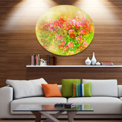 Designart Colorful Spring Garden with Flowers DiscLarge Floral Metal Artwork