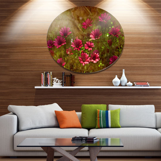 Designart Spring Garden with Little Red Flowers Disc Large Floral Metal Artwork
