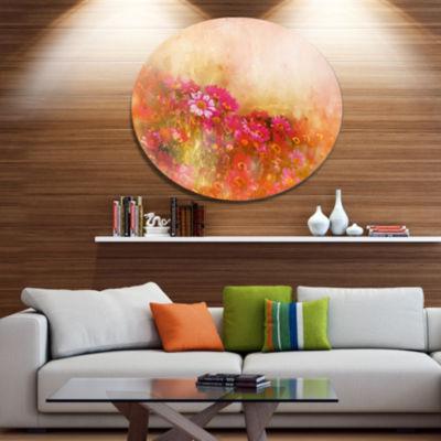 Designart Beautiful Little Flowers in Spring DiscLarge Floral Metal Artwork