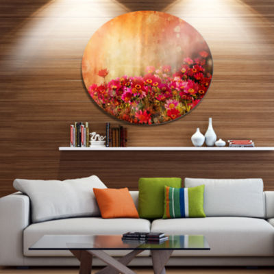 Designart Spring Little Flowers at Sunset Disc Large Floral Metal Artwork