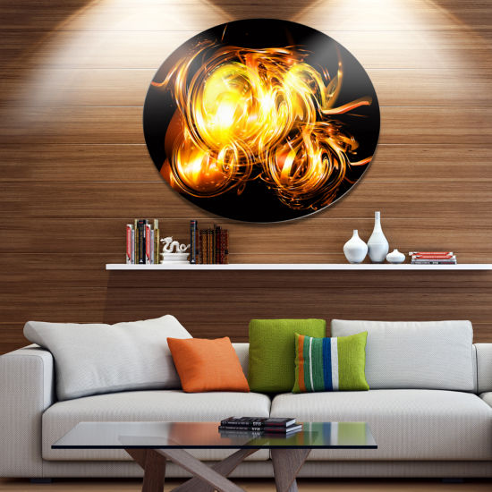 Designart Abstract Fractal Fire on Black Disc Large Abstract Metal Circle Wall Art