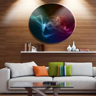 Designart Abstract Fractal Smoke Waves Disc LargeAbstract Metal Circle Wall Art