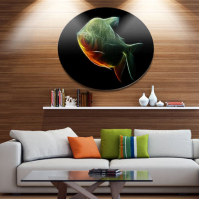 Designart Fractal Pacu Fish on Black Disc Large Animal Metal Artwork
