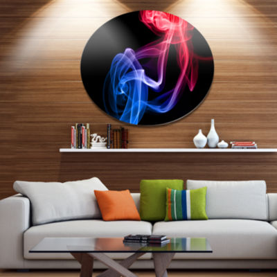 Designart Blue Red Floating Smoke on Black Disc Large Abstract Metal Circle Wall Art