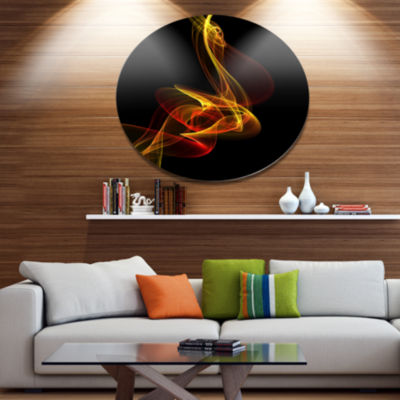 Designart Red Yellow Twisted Waves Fractal Disc Large Abstract Metal Circle Wall Art