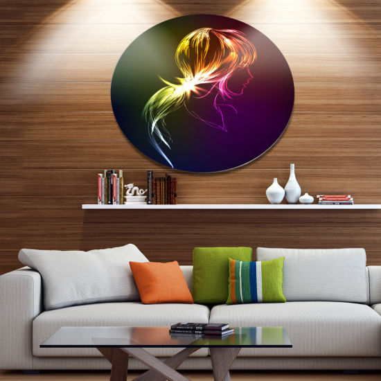 Designart Illuminating Fractal Girl s Head Disc Large Abstract Metal Circle Wall Art