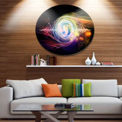 Designart Bright Wave Particle in Air on Black Disc Large Abstract Metal Circle Wall Art
