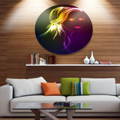 Designart Illuminating Girl s Head Fractal Disc Portrait Metal Circle Wall Art