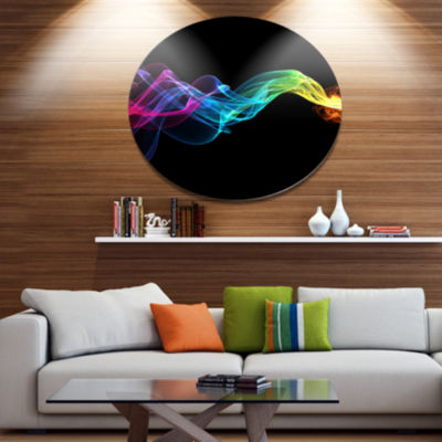 Designart Abstract Ribbon Waves on Black Disc Abstract Metal Circle Wall Art Print
