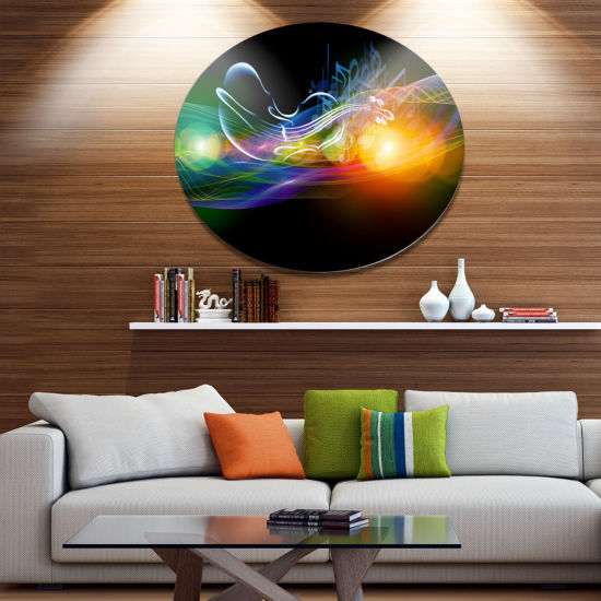 Designart Waves of Music Fractal Design Disc Abstract Metal Circle Wall Art Print