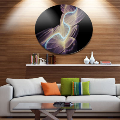 Designart Elegant Fantasy Fractal Design Disc Abstract Metal Circle Wall Art Print