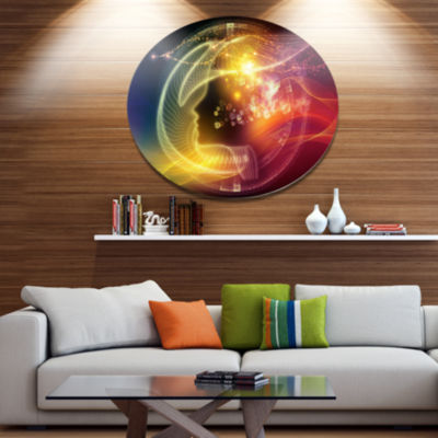 Designart Illuminating Human Head Fractal Disc Abstract Metal Circle Wall Art Print