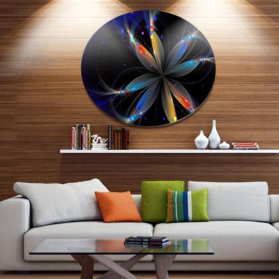 Designart Abstract Fractal Flower on Black Disc Floral Metal Circle Wall Art
