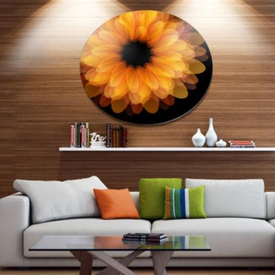 Designart Fractal Flower Petals on Black Disc Floral Metal Circle Wall Art