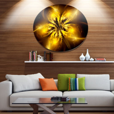 Designart Shiny Gold Fractal Flower on Black DiscFloral Metal Circle Wall Art