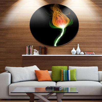 Designart Fiery Fractal Flower with Stem Disc Floral Metal Circle Wall Art