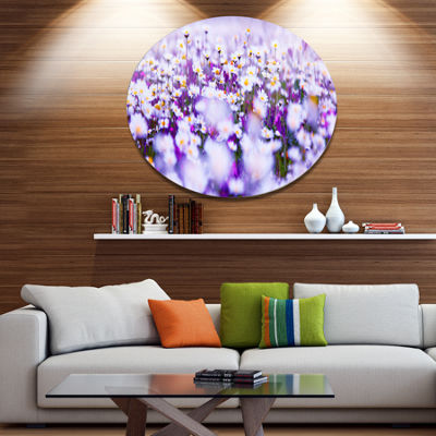 Designart Daisy Field Photography Panorama Disc Floral Metal Circle Wall Art