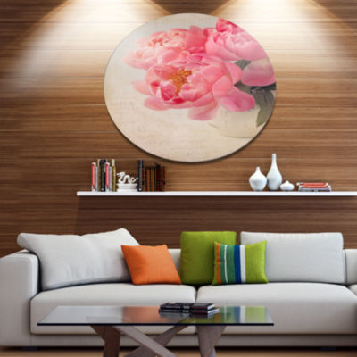 Designart Bunch of Colorful Peony Flowers Disc Floral Metal Circle Wall Art