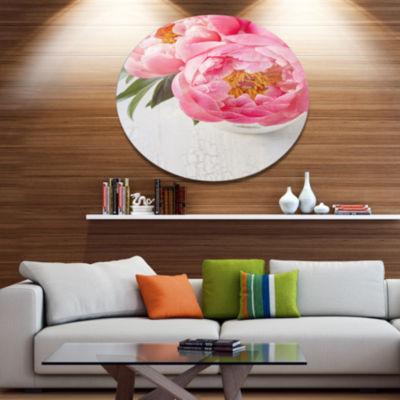 Designart Full Bloom Pink Peony Flowers Disc Floral Metal Circle Wall Art