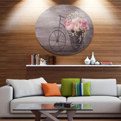 Designart Ranunculus Flowers on Bicycle Disc Floral Metal Circle Wall Art