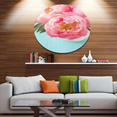 Designart Bunch of Light Pink Peony Flowers Disc Floral Metal Circle Wall Art
