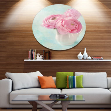 Designart Pink Ranunculus Flowers in Vase Disc Floral Metal Circle Wall Art