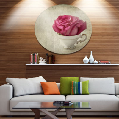 Designart Red Rose in Cup Photography Disc FloralMetal Circle Wall Art