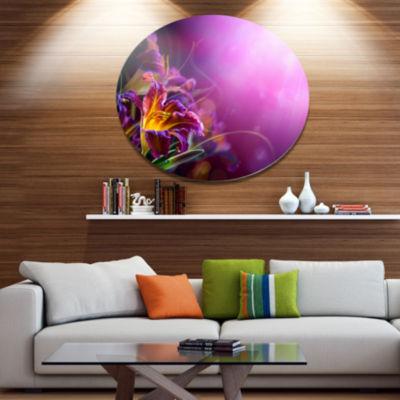 Designart Flowers on Purple Background Disc FloralMetal Circle Wall Art