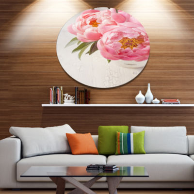 Designart Peony Flowers in Vase Photography Disc Floral Metal Circle Wall Art