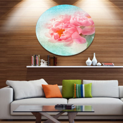 Designart Peony Flowers Merged to Blue Disc FloralMetal Circle Wall Art