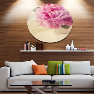 Designart Peony Flowers in Vase on Table Disc Floral Metal Circle Wall Art
