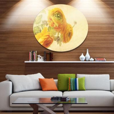 Designart Bunch of Yellow Ranunculus Flowers DiscFloral Metal Circle Wall Art
