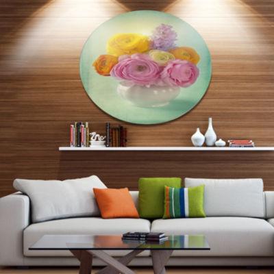 Designart Pink and Yellow Ranunculus Flowers DiscFloral Metal Circle Wall Art