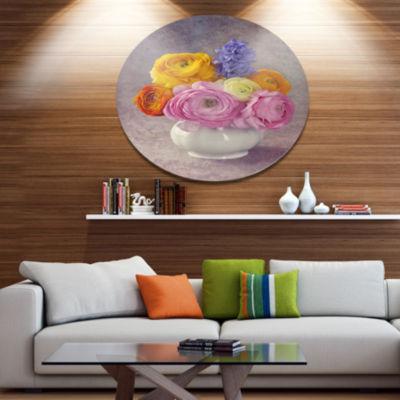 Designart Multicolor Ranunculus Flowers in Vase Disc Floral Metal Circle Wall Art