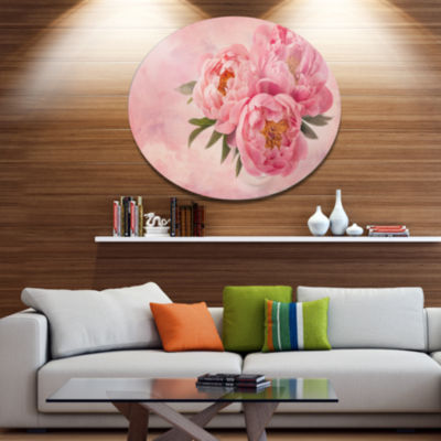 Designart Peony Flowers in Vase on Pink Disc Floral Metal Circle Wall Art