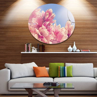 Designart Magnolia Flowers on Sky Background DiscFloral Metal Circle Wall Art