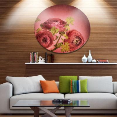 Designart Ranunculus Flowers Stem on Pink Disc Floral Metal Circle Wall Art