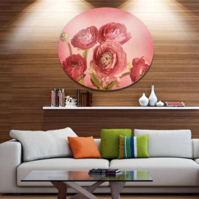 Designart Bunch of Ranunculus Flowers on Pink DiscFloral Metal Circle Wall Art