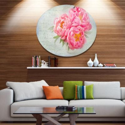 Designart Pink Peony Flowers in White Vase Disc Floral Metal Circle Wall Art