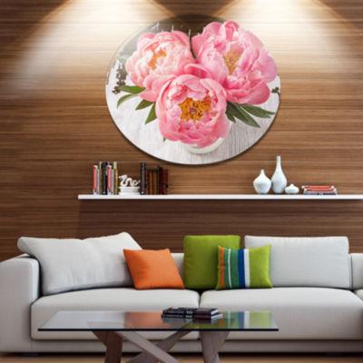 Designart Peony Flowers on White Floor Disc FloralMetal Circle Wall Art
