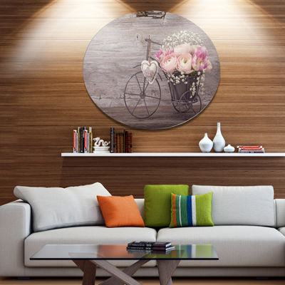 Designart Ranunculus Flowers in Bicycle Vase DiscFloral Metal Circle Wall Art