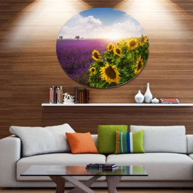 Designart Lavender and Sunflower Fields Disc Floral Metal Circle Wall Art