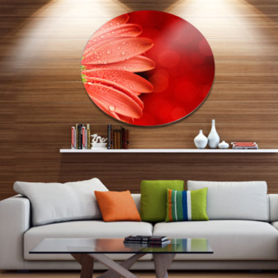 Designart Large Red Flower Petals on Red Disc Floral Metal Circle Wall Art