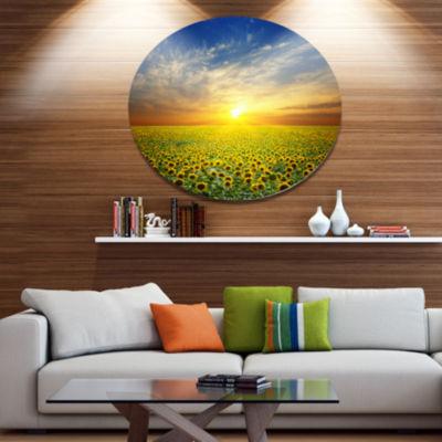 Designart Beauty Sunset over Sunflowers Field DiscFloral Metal Circle Wall Art