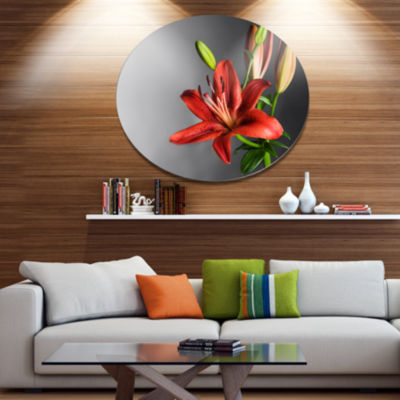 Designart Cute Red Lily Flower over Black Disc Flowers Metal Circle Wall Artwork